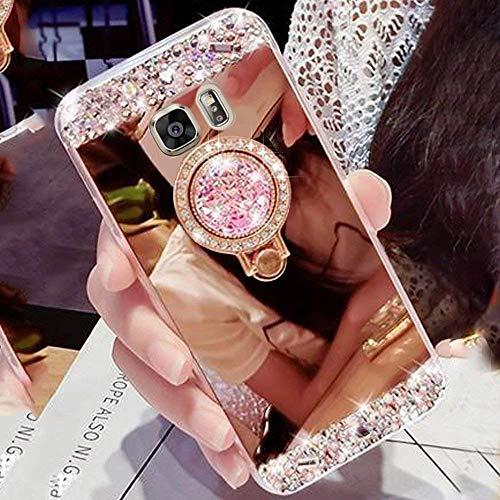 Hülle für Samsung Galaxy S8 Hülle LAPOPNUT Glitzer Mädchen Rose Gold Handyhülle 360 Grad Ständer Diamant Glanz Strass Funkeln Bling Glitter Pink Schutzhülle Harte PC Spiegel Case Girl