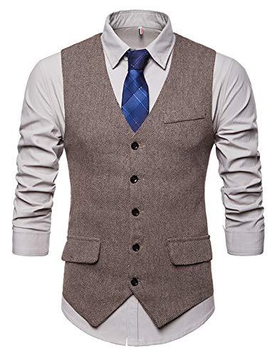WHATLEES Herren Schmale Tweed Weste mit Zweireihige Knopfleiste, Ba0116-khaki, XL