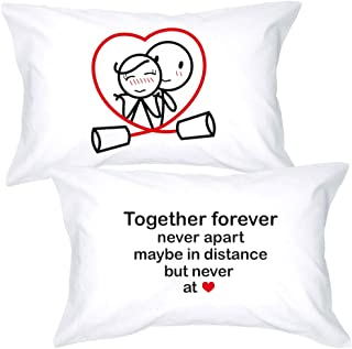 BoldLoft Together Forever Couple Pillowcases for Him and Her - Long Distance Relationships Gifts for Boyfriend - His and Hers Gifts for Couples