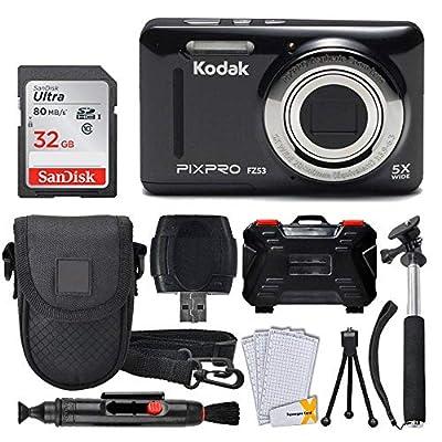 Kodak PIXPRO FZ53 16.15MP Digital Camera + 32GB Memory Card + Point and Shoot Camera Case + Extendable Monopod + Lens Cleaning Pen + LCD Screen Protectors + Table Top Tripod – Ultimate Bundle from Kodak
