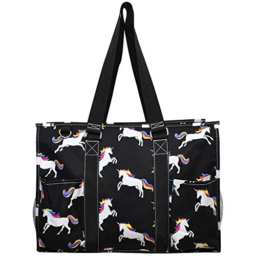 "N. Gil All Purpose Organizer 18"" Large Utility Tote Bag 3 (Unicorn Black)"