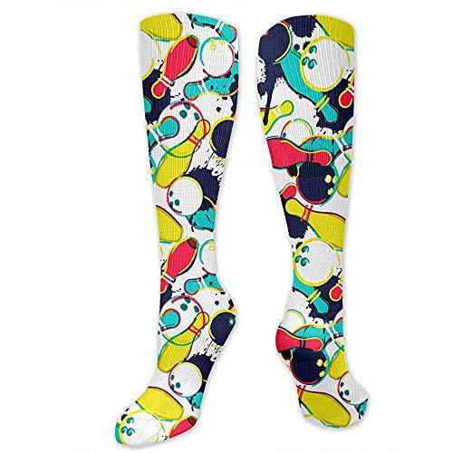 Wa-shop Abstrakte Aquarell-Bowlingkugel-lustige athletische Socken-beste kniehohe Socken