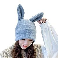 Sariyao かわいいうさぎバニー耳アウトドアカジュアル伸縮性スキースカリーズキャップ、ソリッドカラー韓国人女性冬ニットビーニー帽子イヤーウォーマー、コスプレクリスマスパーティーホリデー