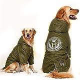 FLAdorepet Abrigo para Perro Grande y cálido, de Forro Polar, con Capucha, para Perro, Color Verde Militar