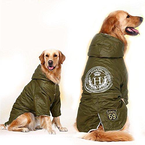 Verde Ejército de Invierno Cálido Grande Perro Mascota Abrigo Chaqueta de Lana Golden Retriever Pitbull Perro Ropa Sudadera con Capucha Ropa Para Perro