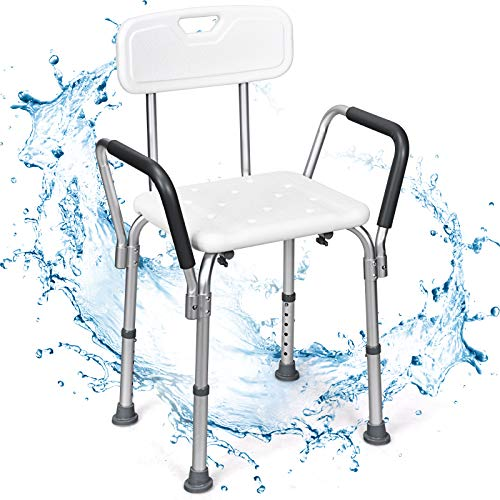 COSTWAY Shower Chair, 6 Levels Adjustable Tub Shower Stools with Detachable...