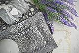Sendez Dekoteller 37x15cm Dekotablett Schale Tablett Viereckig Silber Gold Metall Alu Deko Hammerschlag Optik (Silber) - 6