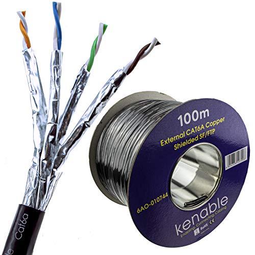 Externo Blindado CAT6A Exterior Usar Cobre Ethernet Cable SF/FTP Rollo 100 m...