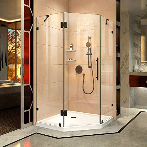 DreamLine DL-6051-06 Prism Lux Frameless Hinged Shower Enclosure & Slimline 38 In. x 38 In. Shower Base In White, 38 In. W x 38 In. D x 74.75 In. H, Oil Rubbed Bronze Hardware; White Base