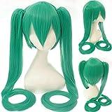 Anime de alta calidad Vocaloid Hatsune Miku Peluca sintética Juego de disfraces Juego Pelucas Cosplay miku Pelucas de cabello azul ondulado largo + gorro de peluca Talla única 8 miku peluca