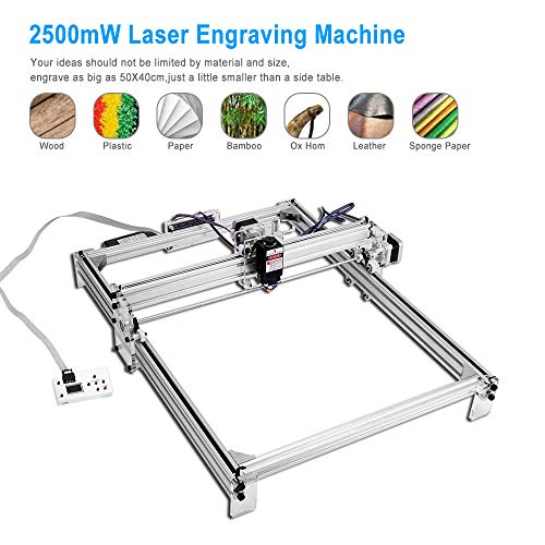 TOPQSC Kit macchina per incisione laser CNC 2500mW, stampante desktop 50x40cm fai-da-te Stampante per marcatura di immagini logo, macchina da taglio per incisione in legno da 12V USB