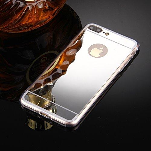 Wakaha Caja del teléfono for el iPhone Plus 8 y 7 Plus galvanoplastia Espejo de TPU Caso de la Cubierta Protectora st (Color : Silver)