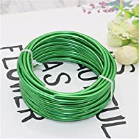 AMIMIアルミニウムワイヤークラフト曲げることができる複数の光沢のある色5m / 16.4ft家具用盆栽ツリートレーニングワイヤー直径1mm,Grass green