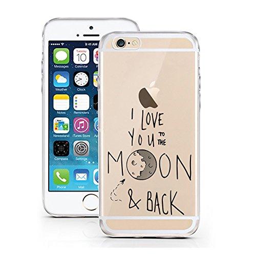 iPhone Cover di licaso per il Apple iPhone 7 di TPU Silicone I Love you to the Moon and Back Ti Amo Amore Luna Modello molto sottile protegge il tuo iPhone 7 con stile Cover e Bumper