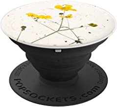 Pressed Yellow Stem Flower Paper Botanical - PopSockets Grip and Stand for Phones and Tablets