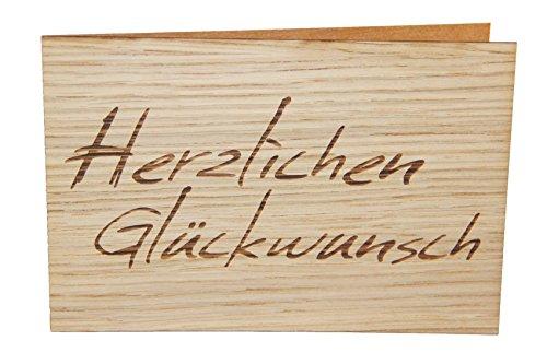 Holzgrußkarte - HERZLICHEN GLÜCKWUNSCH - 100% handmade in Österreich - Postkarte, Geschenkkarte, Grußkarte, Klappkarte, Karte, Einladung, Holzart:Eiche