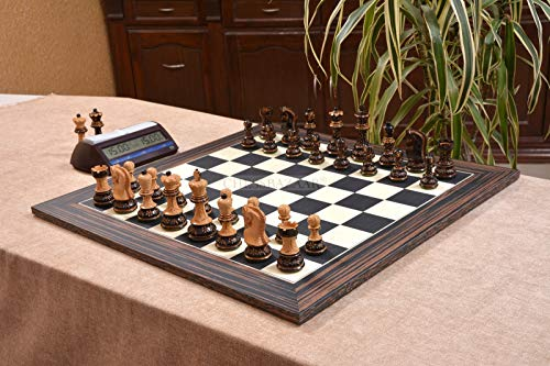 Combo of 1959 Reproduced Russian Zagreb Staunton Series Chess Set in Burnt & Natural Boxwood & Tiger Ebony Maple Chess Board - 3.75' King