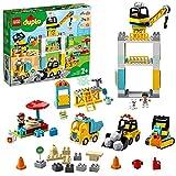 LEGO 10933 Duplo La Grue Et Les Engins De Construction, Pelleteuse, Camion avec Lumière & Son, Jouet pour Enfants de 2-5 Ans