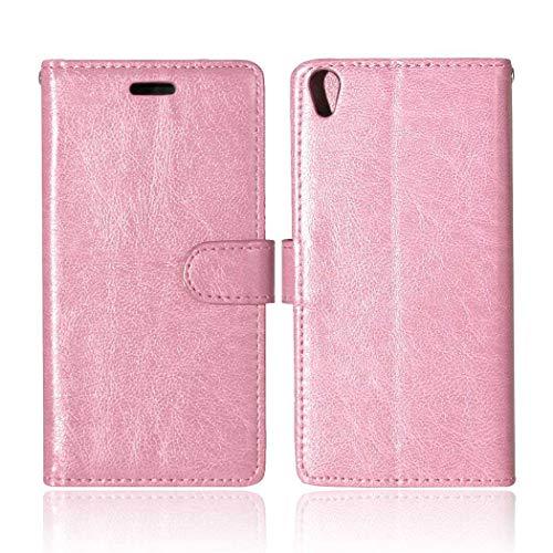 Sony Xperia XA Hülle, CAXPRO® Handyhülle Premium Leder Brieftasche Flip Schutzhülle mit Standfunktion und Kartenfach für Sony Xperia XA, Rosa
