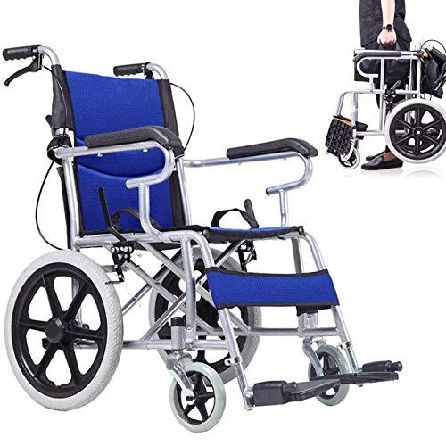 CLJ-LJ - Silla de ruedas plegable ligera – Marco médico con revestimiento de silla de ruedas manual – Mano, aplanar en silla de ruedas para personas mayores, transporte con discapacidad