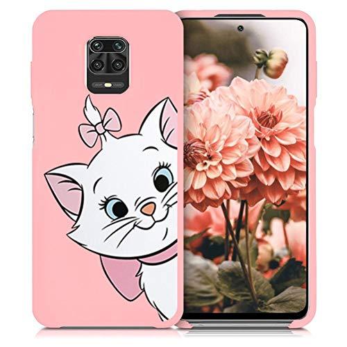 ZhuoFan Funda Xiaomi Redmi Note 9 Pro, Cárcasa Silicona Rosa con Dibujos Diseño Suave Gel TPU Antigolpes de Protector Piel Case Cover Fundas para Movil Redmi Note 9 Pro / 9S, Gato 01