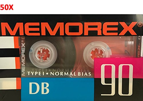 (50-Pack) Memorex DB90 Audio Cassette Tape Blank Normal Bias Type I