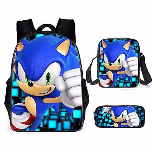 ZBK Game Sonic The Hedgehog Theme School Bag Set, mochila para portátil con bolsa de hombro y estuche para lápices, para niños y niñas, 16 colores