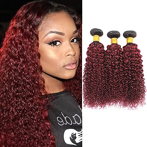 Burgundy curly weave _image1