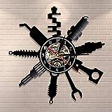 CVG Taller de reparación de automóviles Cartel de Pared Decorativo Reloj de Pared Moderno Taller mecánico de automóviles Taller Reloj de Registro de Vinilo Garaje Reparador Regalo