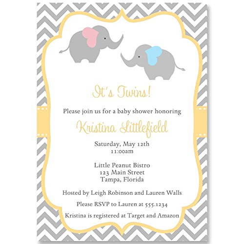 Amazon Com Chevron Elephant Twins Baby Shower Invitation Chevron