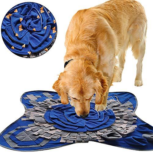 IEUUMLER Schnüffelteppich für Hunde Riechen Trainieren Intelligenzspielzeug Futtermatte Trainingsmatte für Haustier Hunde Katzen IE081 (72x71cm, Blue & Grey)