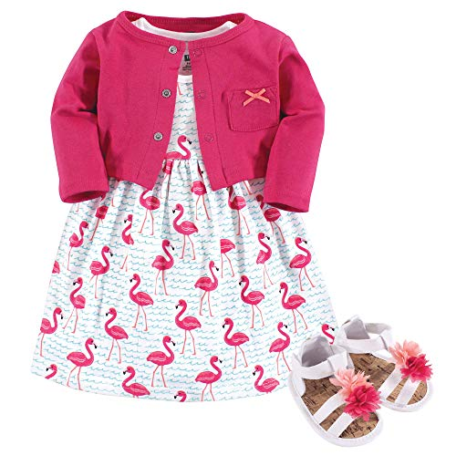 Hudson Baby Baby Girl Cotton Dress, Cardigan and Shoe Set, Bright Flamingo, 9-12 Months