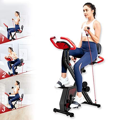 N/Q Folding Magnetic Esercizio Bike- Coperta Fitness Attrezzature-Fold Leggero Display LCD, Fermo Verticale Palestra Ciclo e Pieghevole per la casa Cardio Workout (Fune)