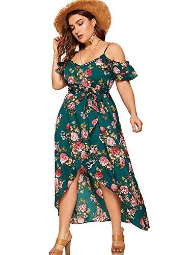 Milumia Women Plus Size High Waist Boho Floral Cold Shoulder Split Maxi Dress Green XX-Large Plus