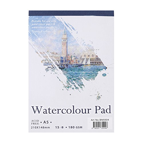 Watercolor Paper Pad, A4/A5 Artist Sketch Book 15 Sheets Watercolor Paper Notepad for Painting Drawing Watercolor Painting Art Notebook Pad for Wet and Mixed Media(A5)