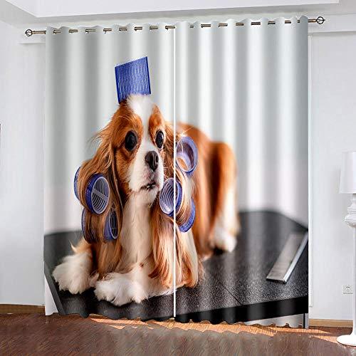 DRFQSK Cortinas Infantiles Impresión Digital Perro Animal 3D Cortinas Opacas Termicas Aislantes Cortinas Dormitorio Moderno con Ollaos, 2 Paneles 234 X 230 Cm(An X Al)