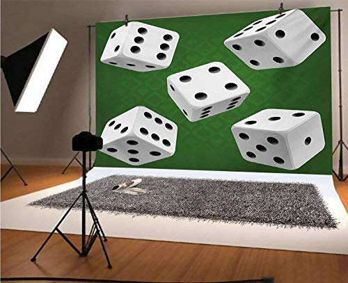 Modern 5x3 FT Vinyl Photography Background Backdrops,Casino Gamble Rolling Dice Set Green Background Illustration Background for Graduation Prom Dance Decor Photo Booth Studio Prop Banner