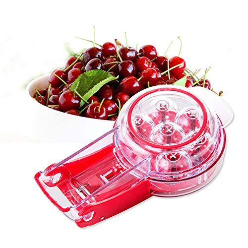 """Hcman Professional Kirschentkerner Werkzeug €"""" 6 Kirschen, Kirschkernentferner mit Kerben und Saftbehälter von Fruit Tools für die Herstellung von Kirschkuchen und Marmelade, rot rot"""