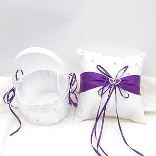 TRUE LOVE GIFT Ring Bearer Pillow and Wedding Flower Girl Basket Set Love Rhinestones Satin Collection Wedding Anniversary Celebrations Party Decoration (Purple)