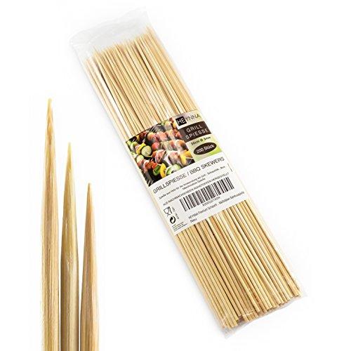 HEYNNA® Schaschlikspieße Holz 30cm / Ø3mm Grillspieße - Holzspieße aus Bambus für das Grillen und Kochen - Nach LFGB Norm geprüft - (200 Stück)