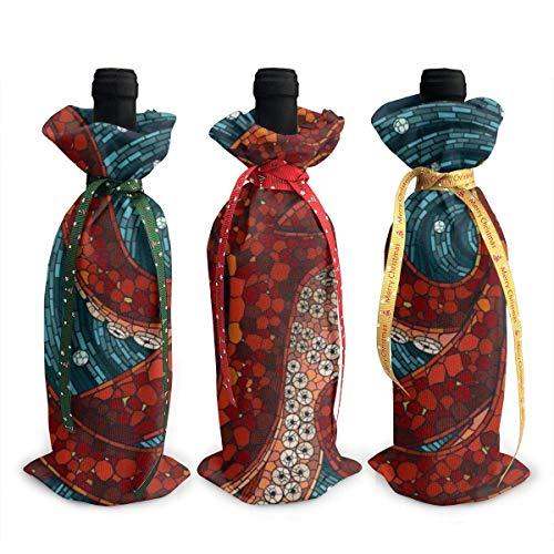 3 Stück Octopus Halobios Weinflaschenabdeckungen Tasche Geschirr für Dekoration