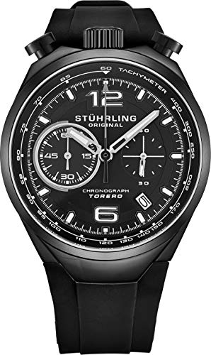 Stuhrling Original Men's Chronograph Wrist Watch Stainless Steel Case with Rubber Strap (Black)