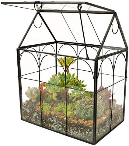 ElegantLife Succulent Terrarium House Shape Handmade Succulent Pot With Top Swing Lid Planter product image