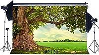 新しいおとぎ話ワンダーランド背景7X5FTビニール古い木の背景エンチャントされている風景緑の草の牧草地農村春の写真の背景のブライダルシャワー結婚式の写真スタジオの小道具133