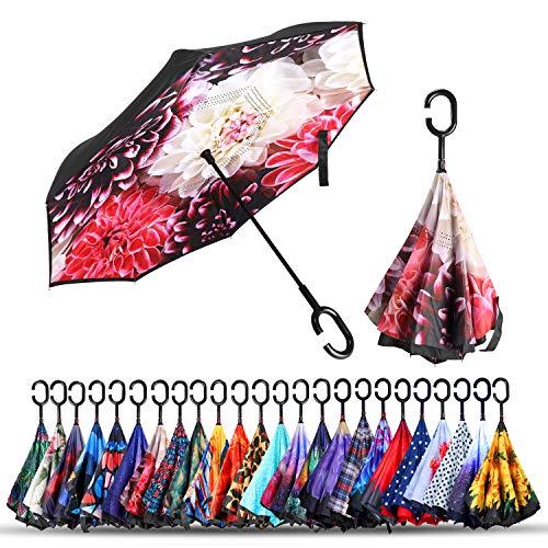 Guarda-chuva invertido de camada dupla, guarda-chuva invertido, dobrável, à prova de vento, com proteção UV, guarda-chuva grande e reto do avesso, de cabeça para baixo, para carro, chuva, ao ar livre, com alça em forma de C, Flowers Bloom