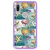 Hapdey Funda Morada para [ Bq Aquaris X2 - X2 Pro ] diseño [ Patrón con Conchas, corales y Estrellas de mar ] Carcasa Silicona Flexible TPU