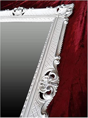 Lnxp wandspiegel barok spiegel in wit zilver dual color 90x70 cm antieke barok rococo shabby chic renaissance jeugdstijl retro design met ornamenten luxueus PRUNKVOLL NIEUW