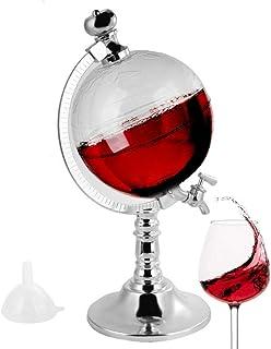 GKanMore Globe Decanter 1.8L Globe Shape Dispenser with Funnel and Stopper - Tap Design, Decanter Dispenser for Wine, Liqu...