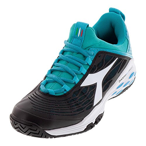 Diadora Womens Speed Blushield Fly Ag Tennis Sneakers Shoes Casual - Black - Size 6.5 B