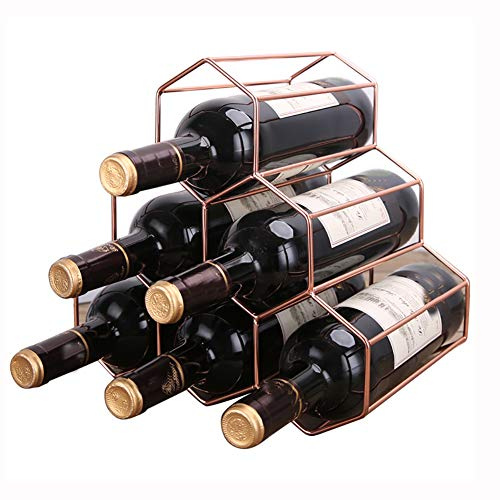Estante de vino para encimera, 6 botellas de vino, moderno estante para vino de metal negro, sin necesidad de ensamblaje, estante para vino pequeño y botella, estante para vino (28 x 19 x 26 cm)
